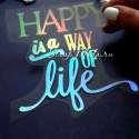 Надпись из термотрансфера HAPPY is a way of life. пленка с эффектом фольгирования, Spectrum,, высота 9,5х10 см., TN000467