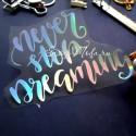 Надпись из термотрансфера Never stop dreaming, пленка с эффектом фольгирования, Spectrum,  размер общий 11х9см., TN000468