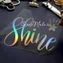 Надпись из термотрансфера Shine+звёздочка, пленка с эффектом фольгирования, Spectrum, размер общий 9х5,5см., TN000469