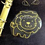 Рисунок контурный из термотрансфера Львёнок475, пленка зеркальное золото, размер  92х82мм, TN000475