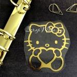 Рисунок контурный из термотрансфера Hello Kitty478, пленка зеркальное золото, размер 80х72мм. ZA000478