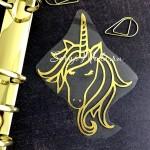 Рисунок контурный из термотрансфера Единорог480, пленка зеркальное золото, размер 9х7мм, TN000480
