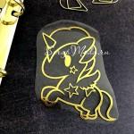 Рисунок контурный из термотрансфера Единорожка482, пленка зеркальное золото, размер 75х75мм, TN000482