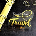 Надпись из термотрансфера Travel time, пленка зеркальное золото, размер 70х64мм, TN000484