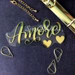 Надпись из термотрансфера Amore, плёнка зеркальное золото, 110х55мм., TN000489