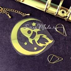 Рисунок из термотрансфера Луна и Ракета, пленка зеркальное золото, размер общий  70 мм., TN000490