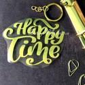 Надпись из термотрансфера Happy Time, плёнка зеркальное золото, 95х75мм., TN000501