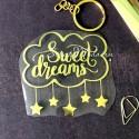 Надпись из термотрансфера Sweet Dreams плёнка зеркальное золото, 80х75мм., TN000503