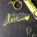 Надпись из термотрансфера Love+сердечко, плёнка зеркальное золото, 83х30мм., TN000505