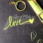 Надпись из термотрансфера Love+сердечко, плёнка зеркальное золото, 83х30мм., ZA000505