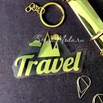 Надпись и рисунок из термотрансфера Travel+горы, плёнка зеркальное золото, 75х50мм., TN000506