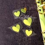 Рисунок из термотрансфера Сердечки, пленка зеркальное золото, размер 15 и 20 мм., TN000509