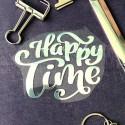 Надпись из термотрансфера Happy Time, плёнка зеркальное серебро, 95х75мм., TN000514