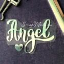 Надпись из термотрансфера Angel, плёнка зеркальное серебро, 85х63мм., TN000515