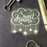 Надпись из термотрансфера Sweet Dreams плёнка зеркальное серебро, 80х75мм., TN000516