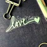 Надпись из термотрансфера Love+сердечко, плёнка зеркальное серебро, 83х30мм., TN000518
