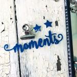 Надпись из термотрансфера Moments+звёздочки, плёнка зеркальный синий, размер надписи 90х25мм., TN000525