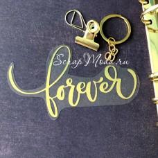 Надпись из термотрансфера Forever, плёнка зеркальное золото, 114х66мм., TN000545