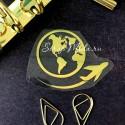 Рисунок из термотрансфера Глобус и самолет, пленка зеркальное золото, размер общий 5,5х6см., TN000549