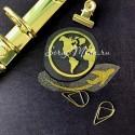 Рисунок из термотрансфера Глобус и самолет, пленка зеркальное золото+глиттерное золото самолёт, размер общий 6х7см., TN000550