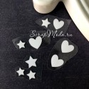 Рисунок из термотрансфера MIX Звездочки+сердечки, 10 штук, пленка белая матовая, размер от 8 до 15 мм., TN000555