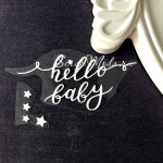 Надпись из термотрансфера Hello Baby+звёздочки, пленка белая матовая, размер 4,5х9,5см., ZA000557
