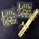 Надпись из термотрансфера Little Baby+звёздочки, пленка зеркальное золото, размер 8х8,5см., TN000558