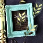 Рисунок из термотрансфера Веточка, пленка зеркальное золото, размер 5,5х3 см., TN000566