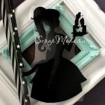 Рисунок  Девушка+торт, пленка матовая черная, размер 13х9 см, TN000578