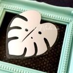 Рисунок из термотрансфера Лист Монстреры, пленка зеркальное серебро, размер 50х50мм, TN000591