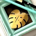 Рисунок из термотрансфера Лист Монстреры, пленка зеркальное золото, размер 50х50мм, TN000592