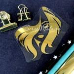 Рисунок из термотрансфера Лицо Девушки, пленка зеркальное золото, размер 68х70мм, ZA000594