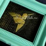 Рисунок контурный из термотрансфера Колибри кубизм, пленка зеркальное золото, размер 5х4см., TN000604