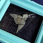 Рисунок контурный из термотрансфера Колибри кубизм, пленка зеркальное серебро, размер 5х4см., TN000605