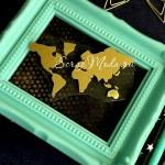 Рисунок контурный из термотрансфера Карта Мира, пленка зеркальное золото, размер 6,5х4см., TN000607
