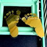 Рисунок контурный из термотрансфера Детские следы, пленка зеркальное золото, размер 8х8см., ZA000608