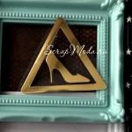 Рисунок из термотрансфера Знак тюфелька, пленка зеркальное золото, размер 54х60мм, TN000720