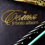 Надпись из термотрансфера Семья photo album+сердечко, пленка зеркальное золото, размер общий 10,5х5 см., TN000734