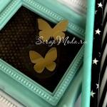 Рисунок из термотрансфера Бабочки, пленка зеркальное золото, размер общий 2,5см., 2 бабочки, TN000736