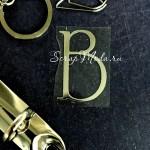 """Буква из термотрансфера """"В"""", пленка зеркальное золото, размер 2,4х3 см., TN000740"""