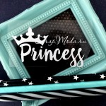 Надпись из термотрансфера Princess с короной, пленка белая матовая, размер габарит 7х4см, TN000755