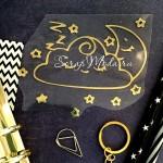 Рисунок контурный из термотрансфера Спящее облако, пленка зеркальное золото, размер 10,5х8 см. TN000773