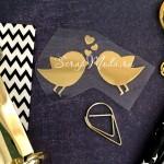Рисунок из термотрансфера Птички Love, пленка зеркальное золото, размер 55х34мм, TN000777