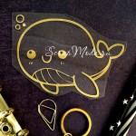 Рисунок контурный из термотрансфера Китёнок, пленка зеркальное золото, размер 90х70мм., TN000778