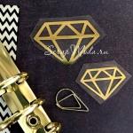 Рисунок контурный из термотрансфера Алмазы, зеркальное золото, размер 45х35мм, 33х23мм., TN000780