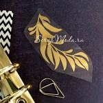 Рисунок из термотрансфера Веточка, зеркальное золото, размер 70х35 мм., TN000781