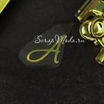 """Буква из термотрансфера """"А"""", зеркальное золото, размер 2х1,8 см., TN000792"""