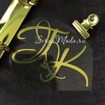 """Буквы из термотрансфера """"ГК"""", зеркальное золото, размер 8х6,5 см, TN000795"""