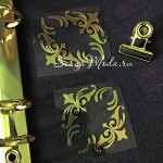 Рисунок из термотрансфера Уголки, пленка зеркальное золото, размер уголочка 35х35мм., в наборе 4 уголка, TN000799