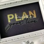 Надпись из термотрансфера Plan your live, пленка зеркальное золото и чёрная, размер общий 11х5,2 см., TN000805